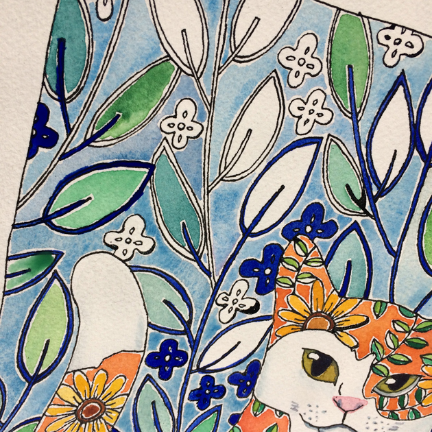 Section of a bright watercolour painting of a flowey orange cat
