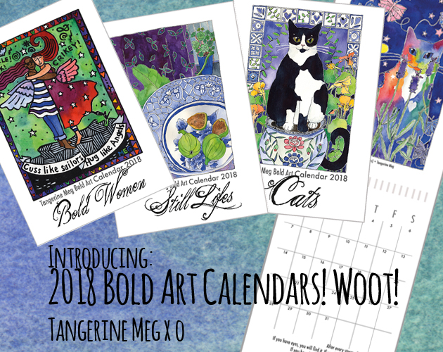 "Header image backed by watercolour blues, with 3 vibrant art calendar covers and one open calendar. The covers read ""Bold Women"", ""Still Life"" and ""Cats""."