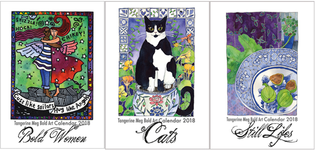 3 2018 Bold Art Calendar covers, featuring hugging pirate women, cats and a still life with figs