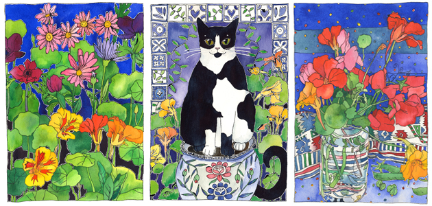 3 bold colourful artworks featuring flowers, the centre one including a black and white cat