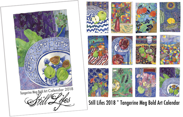 Cover and inner calendar pages of 2018 Tangerine Meg Bold Art Calendar, Still Lifes. Bottlebrush picture is the second one, featured in February.