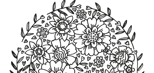 black and white flower drawing