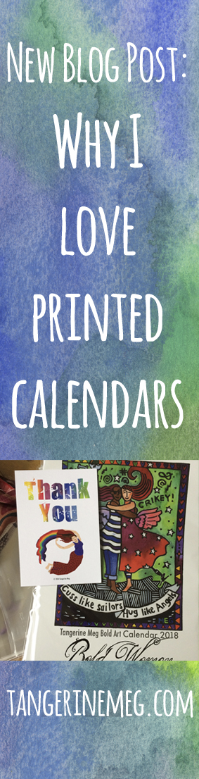 Why I Love Paper Calendars in white text with a watercolour background, and featuring an art calendar cover with a thank you card photo.
