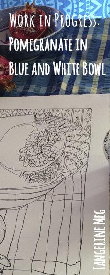 Pomegranate still life in progress, with checked cloth and blue and white bowl