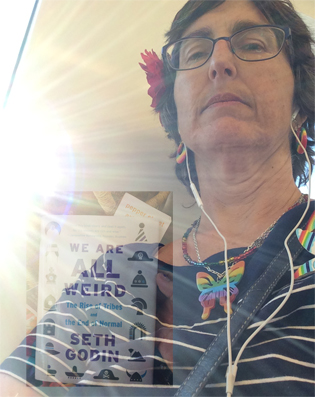 "me on the train with the sunshine behind me, overlaid with seth godin book entitled ""we are all weird"""