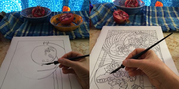 Two panels with early and later stages of drawing on a pomegranate still life. The hand is shown holding the dip pen in both panels