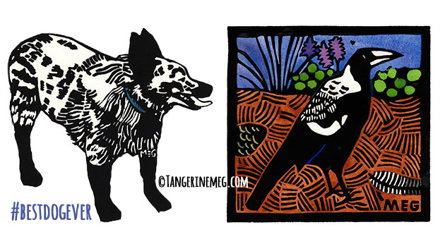 black and white dog art on left, and handcoloured lino print of a young magpie on the right