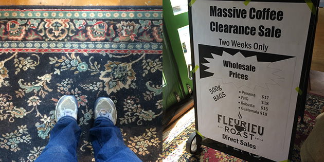 my feet on a patterned carpet next to a sale sign at fleurieu roast