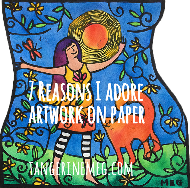 "Handcoloured lino print of a joyous woman under the sun with her cat, overlaid with type reading ""7 Reasons I Adore Artwork on Paper"""