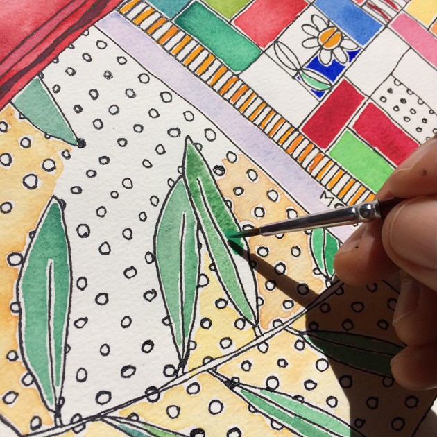 Work in progress on an artwork on paper . Hand shown painting bottlebrush leaves.