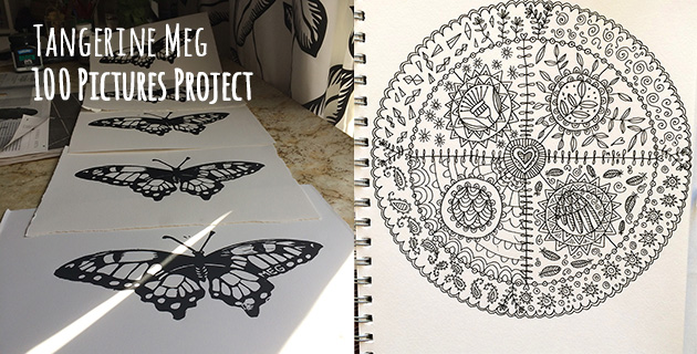Header image with butterfly lino prints on left half, and a hand drawn mandala on the right half.
