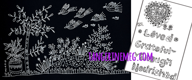 "the left area of the image is a white drawing on black paper of a small section of garden, on the right is some hand drawn lettering of the words ""loved, grateful, enough, nourished"" in black line on white paper"