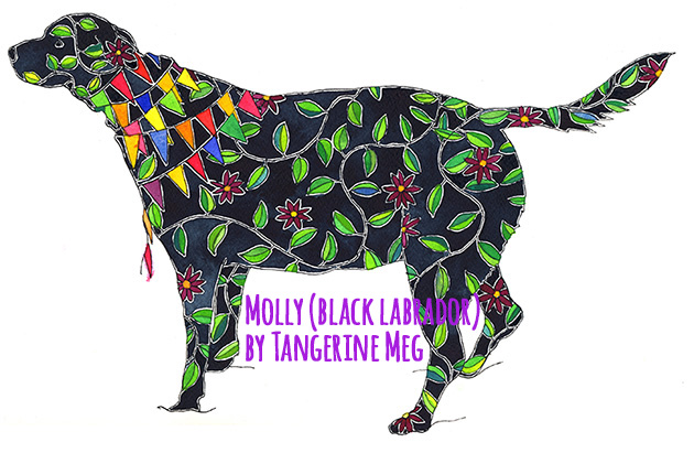 Painting of a black labrador decorated with leaves and flowers and bunting - art by Tangerine Meg