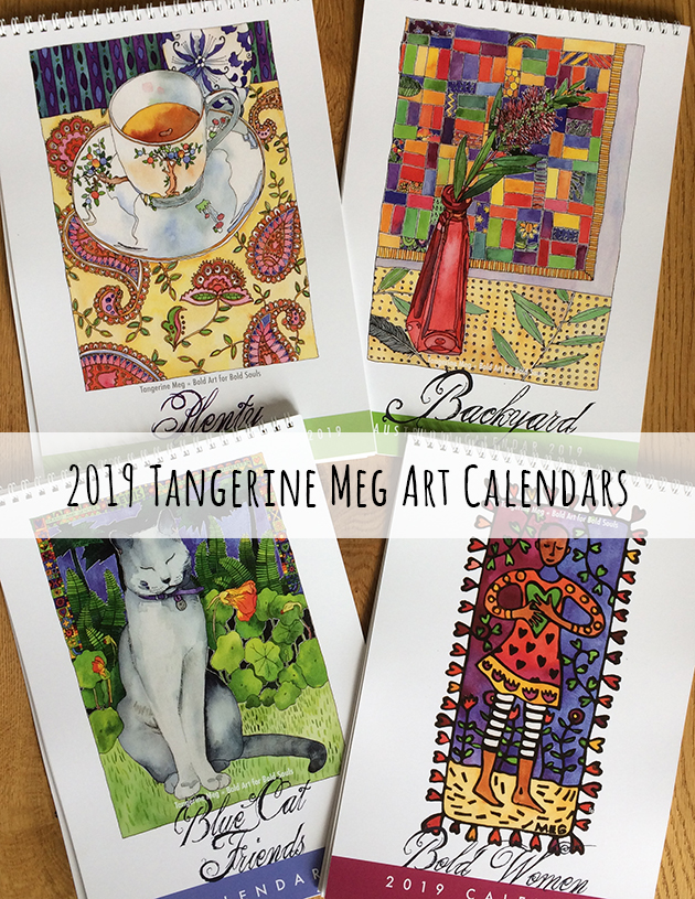 4 2019 calendars laid out on wood panel background, the themes are cats, still life, bold women and backyard.