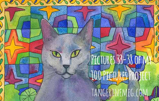 100 Pictures Art Project header image with silvery blue intent cat on a vibrant patchwork quilt background