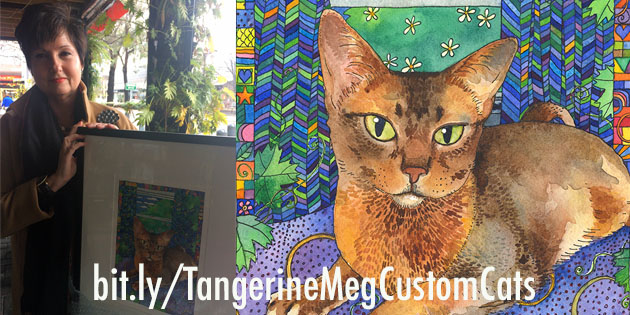 Happy customer photo with framed Custom Cat (at left) and close up of the Custom Cat painting (at right)