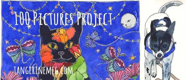 "Project in progress image, with black cat under a night sky at left, and painted happy dog at right; overlaid with text reading ""100 Pictures Project"" and the URL tangerinemeg.com"