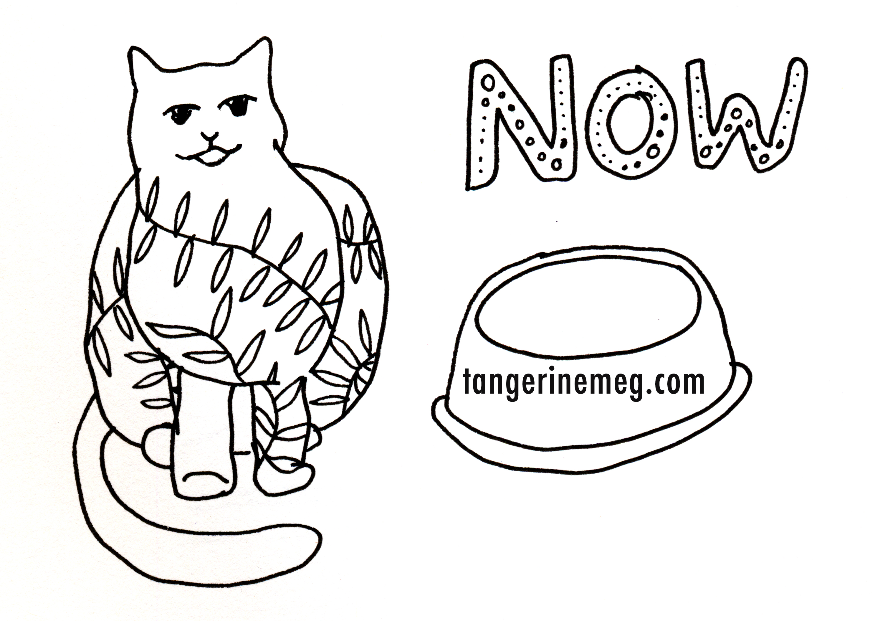 pen drawing on white background of a vine-decorated cat sitting beside and empty cat food bowl
