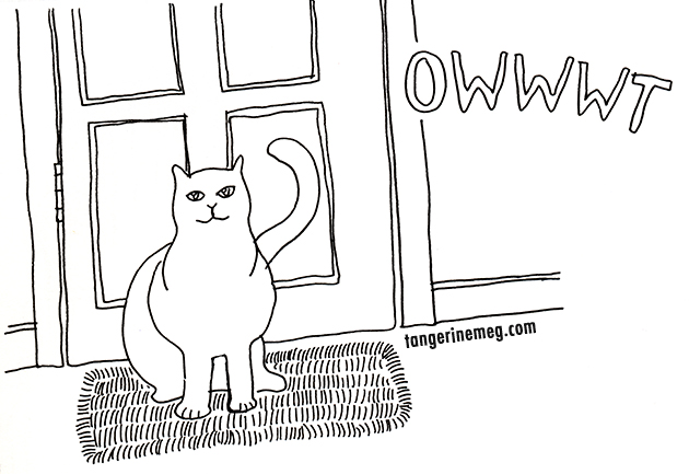 cat by door drawing, asking to go OWWT