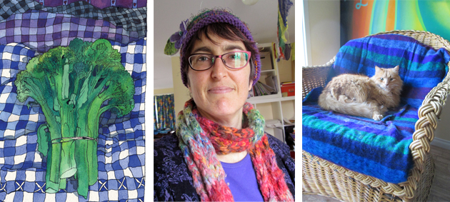Bold Art triptych of 1. a broccoli watercolour painting, the broccoli is in greens and has a blue and white checked background, 2. a photographic self protrait of Tangerine Meg in a woolly hat and scarf and red spectacles, and 3. a photograph of an orange cat in a chair with stripy cover.