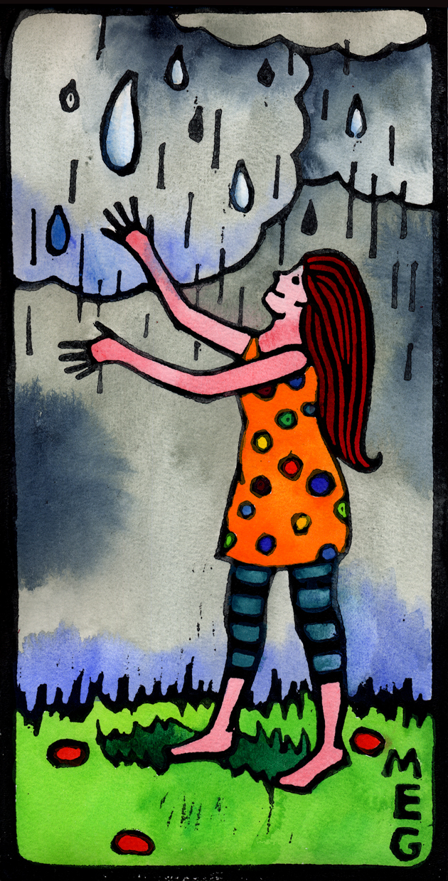 Lino Print art of girl in a spotty orange dress and stripy tights, welcoming rain drops from a heavenly cloudy sky. Black lino print outlines, hand-coloured with bright, vibrant watercolour paints.