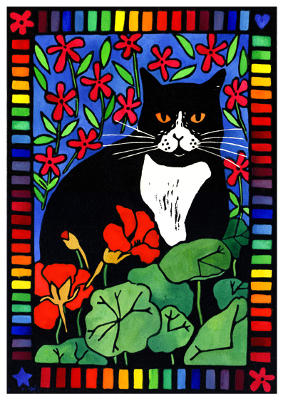 Hand coloured lino print of black and white cat in a garden
