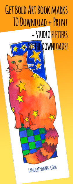 "Header image for ""Downloadable bookmark: Star Cat"" featuring quirky Tangerine Meg artist drawing"
