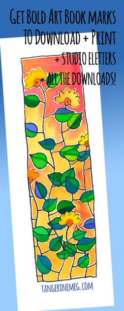 "Header image for ""Downloadable bookmark: blooming flowers"" featuring quirky Tangerine Meg artist drawings"