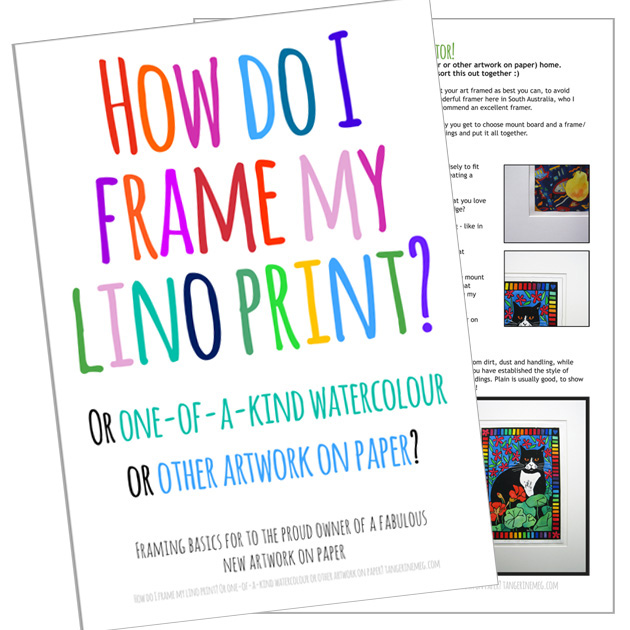 "Cover and info sheet for leaflet ""How do I Frame my Lino Print?"" with hand-written looking font in bright colours"