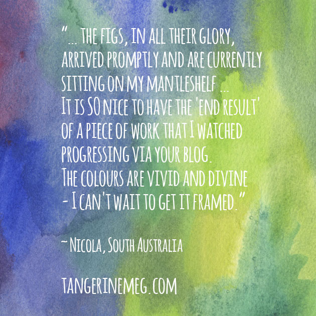 Customer testimonal on watercolour background