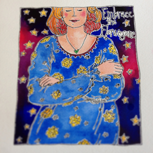 49th painting of my 50th Birthday Bold Art Project_Embrace the Flawesome - Lady in a blue dress with yellow flowers, contemplating