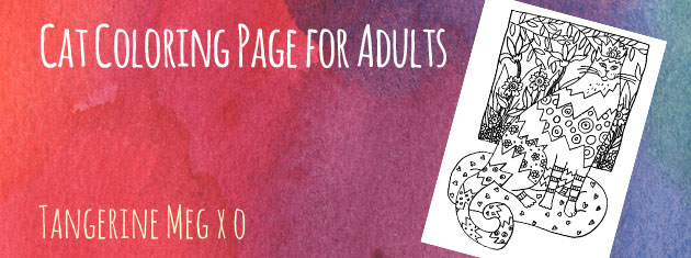 """watercolour-y pink background with pale hand-lettered looking font saying """"Cat Coloring Page for Adults"""" with a jauntily tilted image of black and white cat colouring page"""