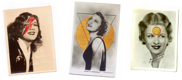 Vintage photos with coloured embroidery shapes - art by Textile Warrior