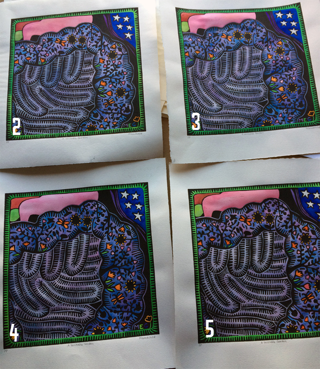 comparing the almost-the-same coloured remaining A Veritable Garden lino prints