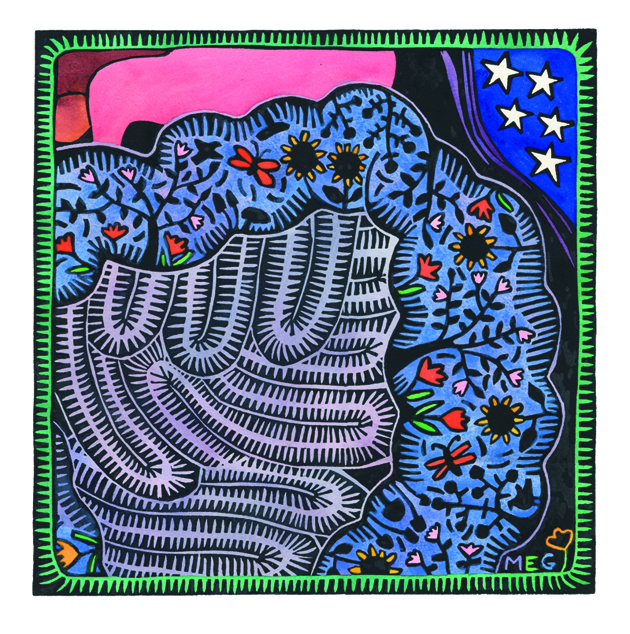 """Finished painted lino print of """"A Veritable Garden"""" by Adelaide Artist, Tangerine Meg"""
