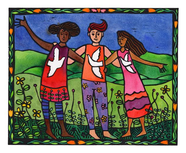 Finished lino print: Friends, Luka Pace and Joy (Light, Peace, Joy)