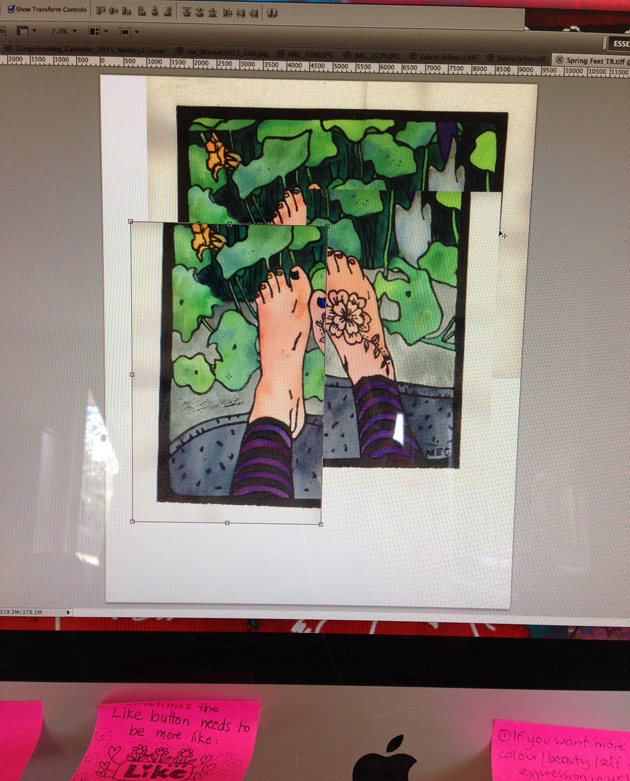 Photo of computer screen showing scanned sections of Spring Feet Lino Print being aligned