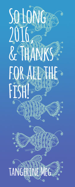 """Header image for """"So Long 2016 and Thanks for all the fish"""" blog post featuring mint green fish pattern with a lightish blue back ground"""