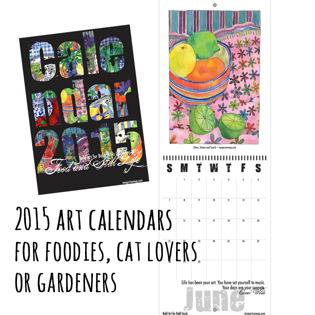 cover and inner layout of bold art calendar (food and flowers) from 2015