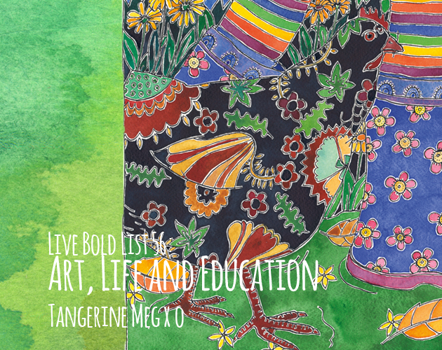 "Header image for blog post: ""art life education"" featuring black patterned chicken walking left to right and backed by autumn garden in watercolour"