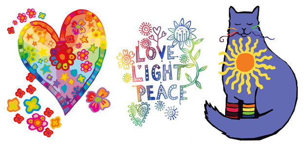 Colourful heart, love.light.peace graphic and sunshiny cat