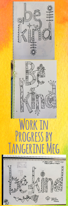 3 drawing book pages in a column with header type and a watercolour yellow background