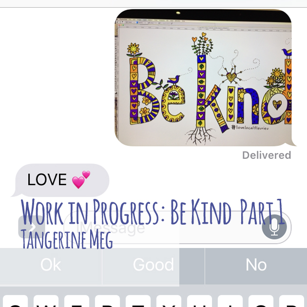 """A screenshot from a mobile phone showing artwork on a screen and a reply saying """"love"""""""