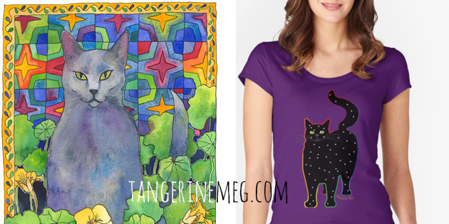blue russian cat art at left and photo of tshirt of black cat with stars art