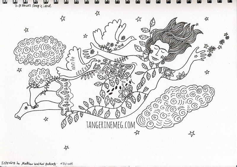 line drawing of sleeping floating woman by Tangerine Meg