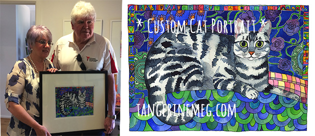 Happy cat owners taking delivery of their custom cat portrait