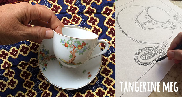 Hand holding tea cup with patterned fabric cloth. Right hand side image is beginnings of drawing the cup